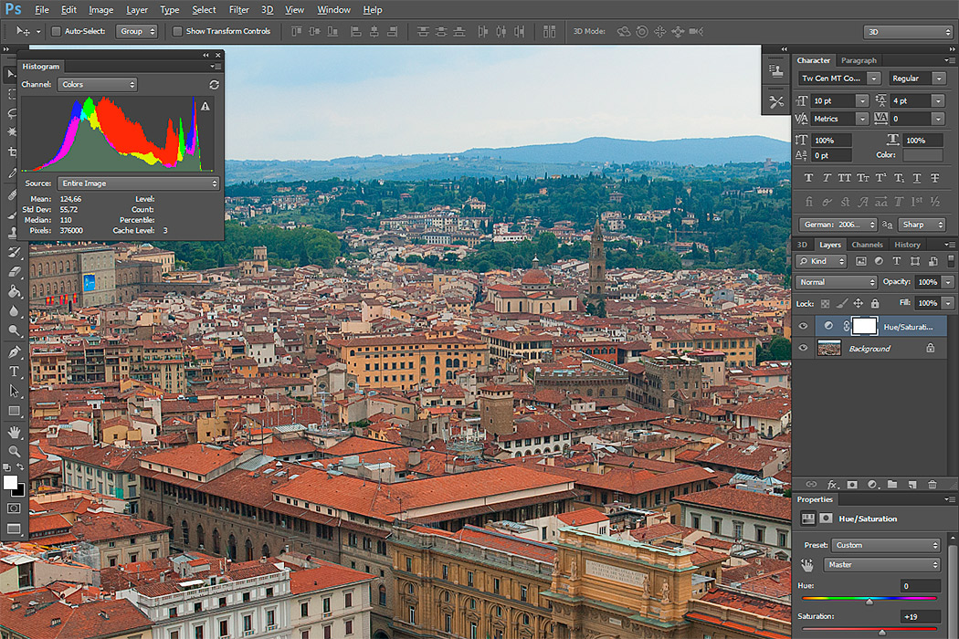 Italian photo in Photoshop window