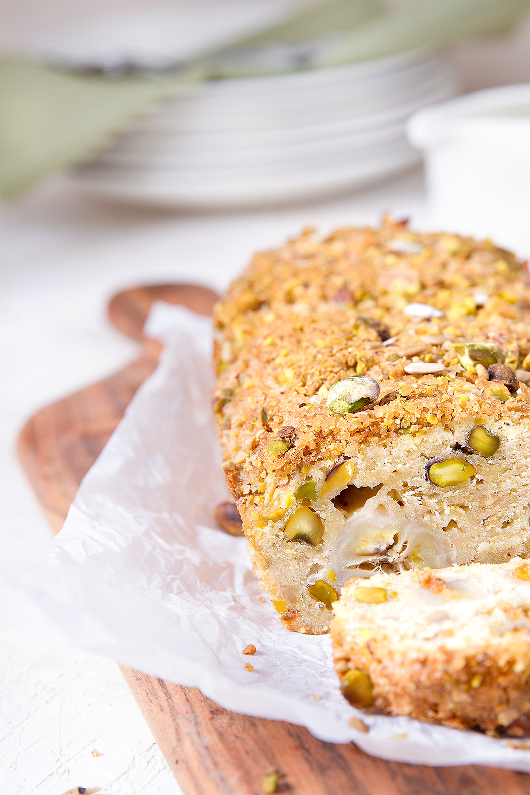 Banana Cake With Fresh Pistachios