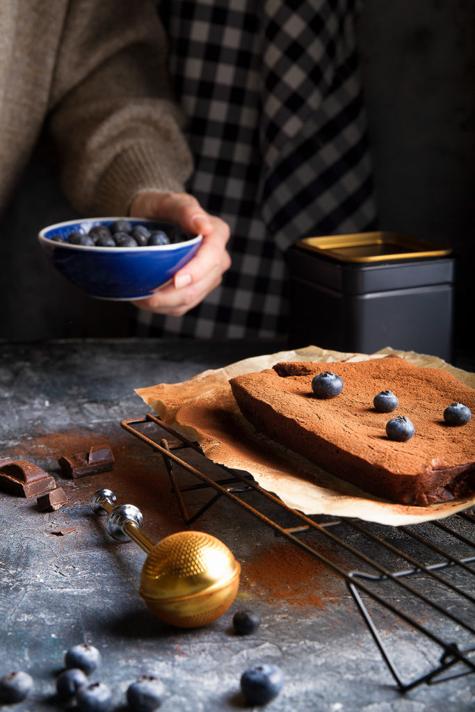 brownie with blueberries