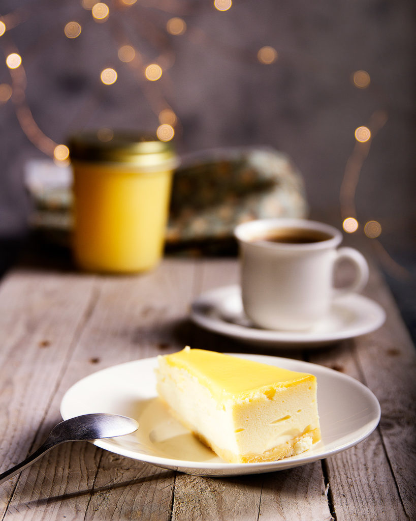 table coffee setting with cheesecake and lemon curd
