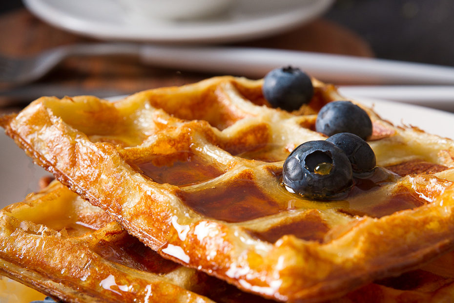waffles with honey and berries