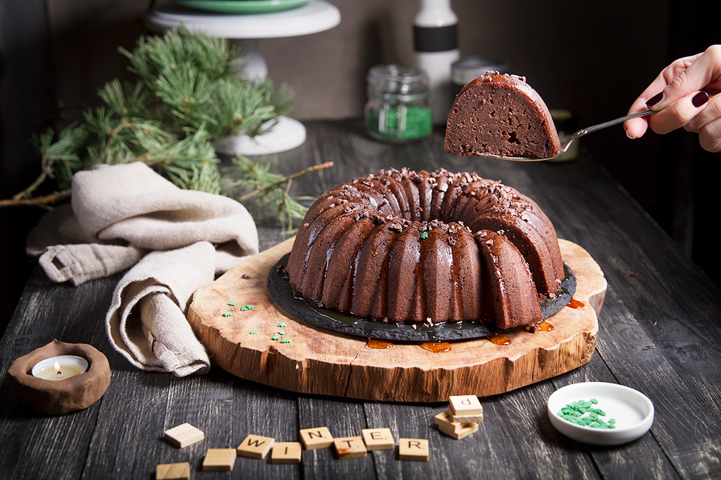 chocolate bundt cake with christmas decoration