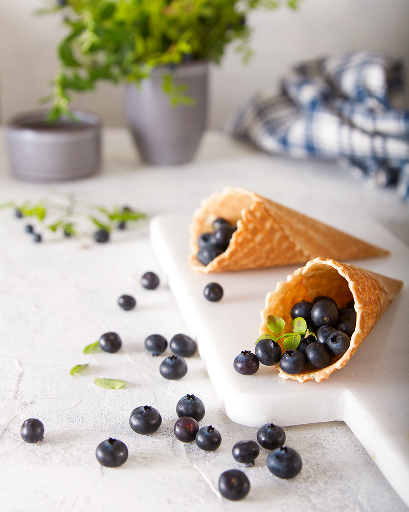 waffle cones with blueberries