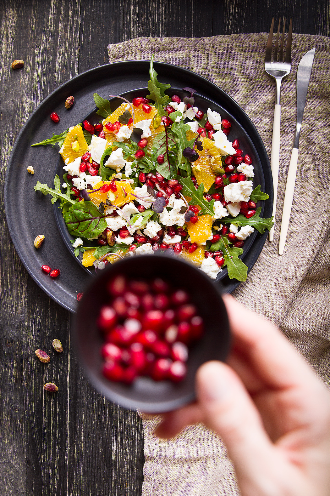 salad with pomegranate seeds and feta