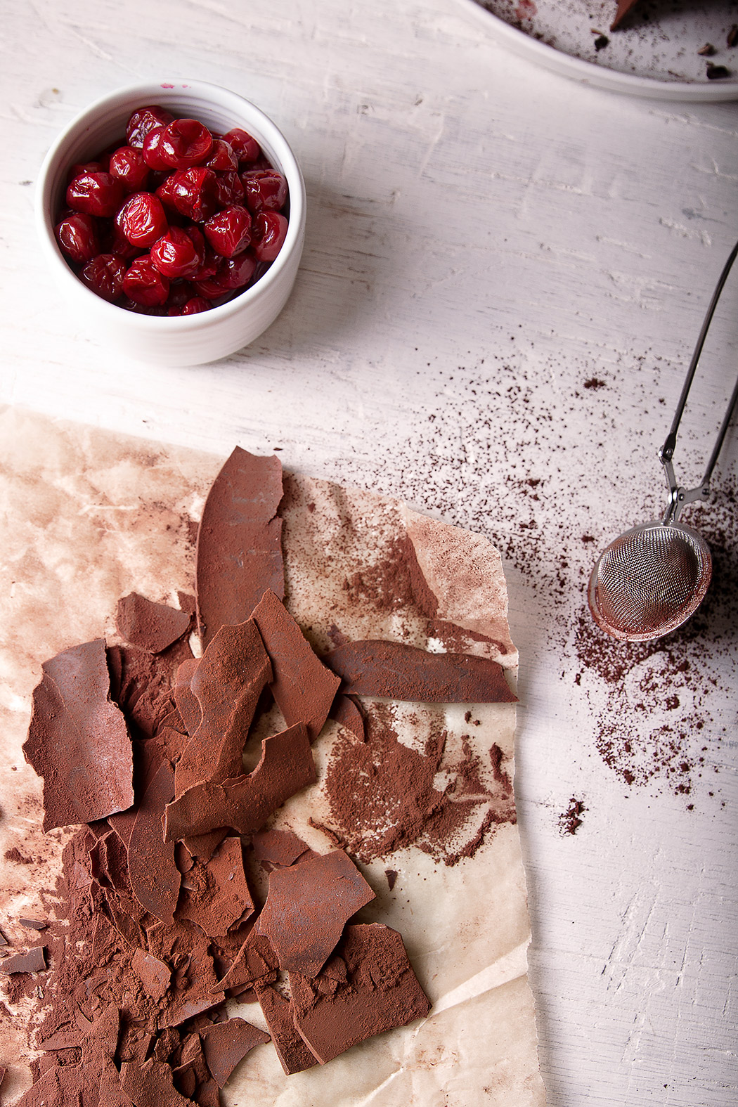 chocolate and cocoa for black forest cake