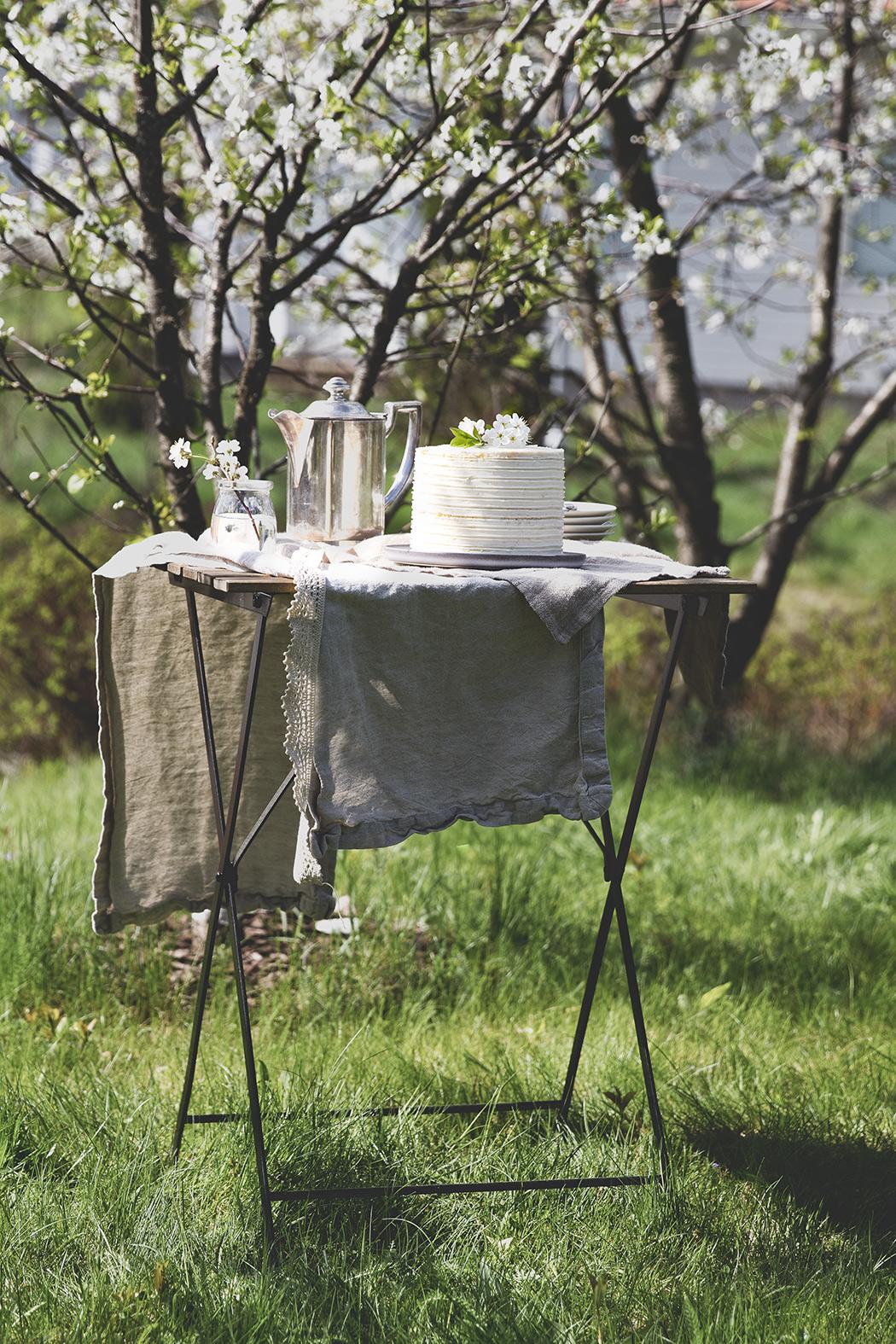 tea table in cherry garden