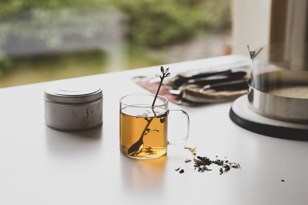 jamine tea in transparent mug