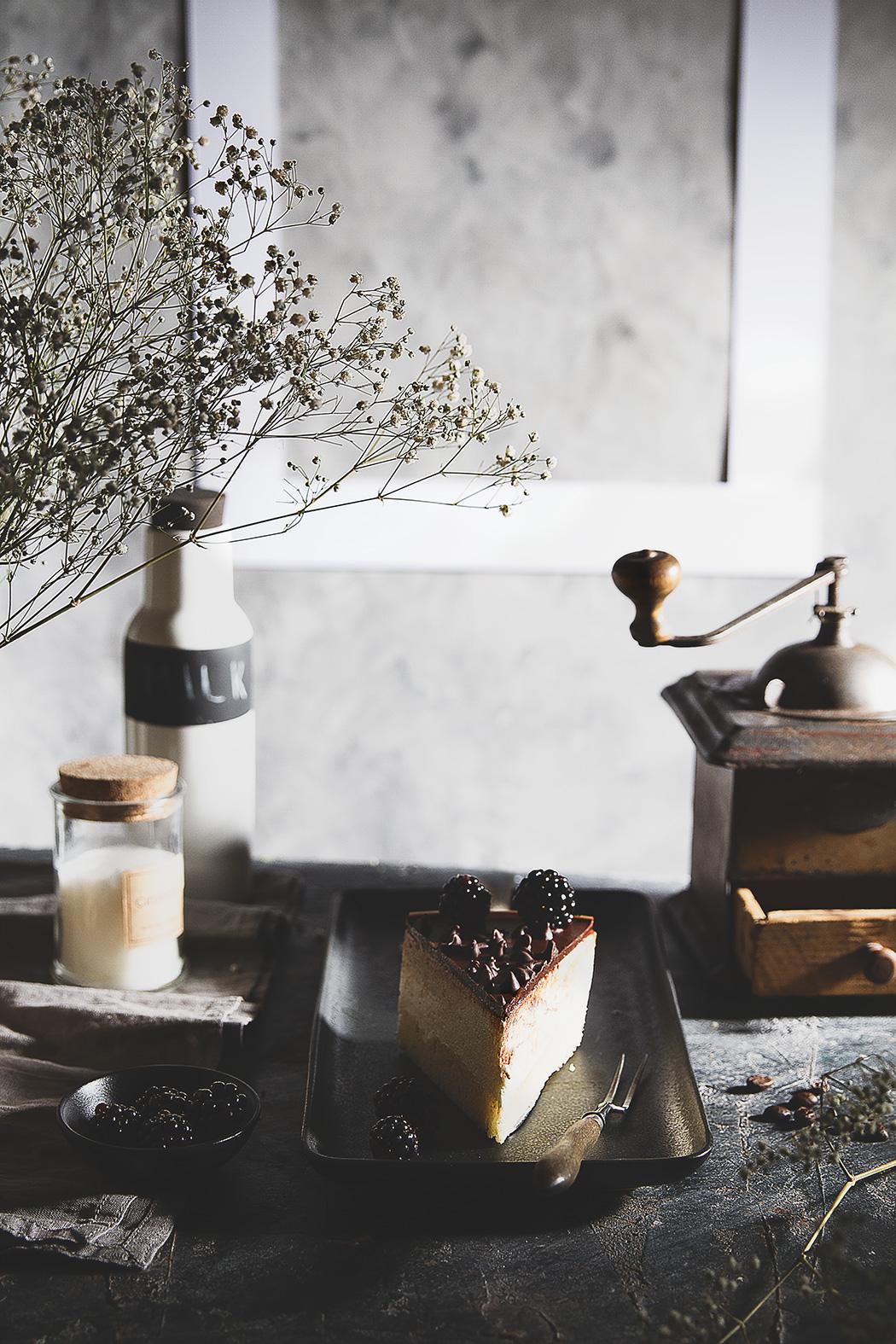 bird's milk cake with table setting